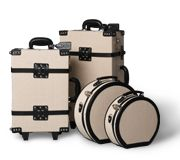 The Editor Black Collection | Linen hat box Carry-on Stowaway Suitcase | Steamline Luggage