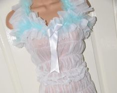 Stunning sheer sensual all-in-one teddy, silky soft lounging wear, Adult Baby maybe? Girly, White Chiffon, Pink Candy, Pink Satin, All In One, Feminine, Ruffle Blouse, Rompers, Lingerie