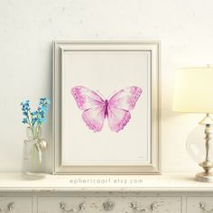 Digital Butterfly print, Light purple pink Butterfly artwork, Baby Nursery wall decor for girls, Girls bedroom wall art Printable Pink decor https://etsy.me/2E8t8Nr #digitalbutterfly #butterflyprint #lightpurple #purplepink #pinkbutterfly