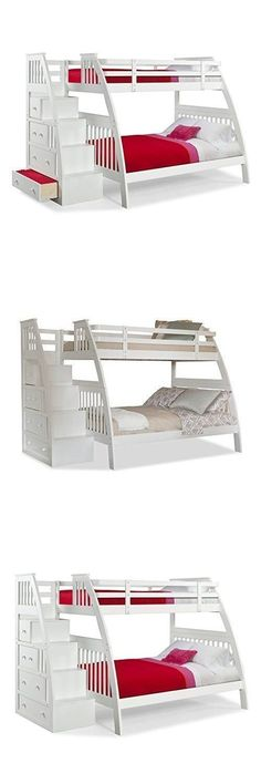 Kids Furniture: Bunk Beds For Kids Twin Over Full Stairs With Drawers White Furniture BUY IT NOW ONLY: $799.9