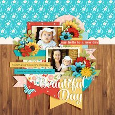 #papercraft #Scrapbook #layout. Rise and Shine by Kristin Cronin-Barrow and Studio Basic Designs Template Set 161 by Cindy Schneider DJB Baby Bump font by Darcy Baldwin Sal...