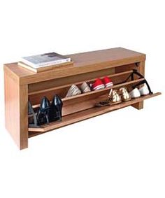 Cuban Shoe Storage Cabinet - Oak Effect.