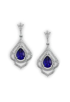 Effy 14K White Gold Blue Sapphire and Diamond Earrings, 2.70 TCW