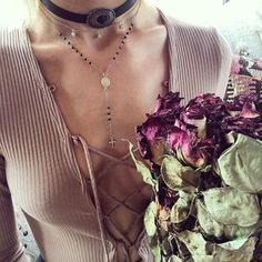 ✥ ʀ ᴏ s ᴇ p e t a l ✥ were layering drops of crystals with dainty rosaries and leather chokers ✥✥✥ {shop link in bio} #childofwild #daintyjewelry #layers top via @necessaryclothing