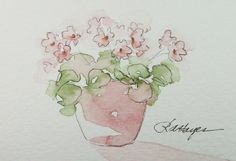 Pastel Pink Violets Watercolor Painting Floral Original ACEO by RoseAnn Hayes, available in Etsy shop