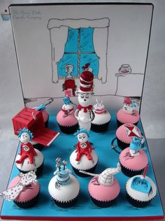 Hooray! We Have Cat In The Hat Cupcakes Today! made by The Clever Little Cupcake Company