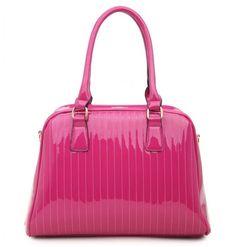 PINK - Classic Cora Plain Patent Tote Handbag With Straight Lining Detail - The Handbag Hut