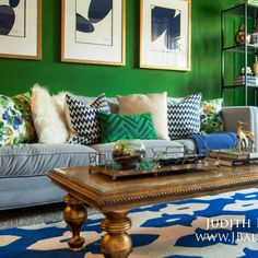 Throwing it back to that time when I had my way with color. I went all the way to third base on this one. #saturated #notforsissies #crazyforcolor #emerald #greenandblue #brass @jlfurniture #interiordesign #tbt #jbalisinteriors @rugs_usa by judith_balis