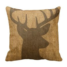 Shop Rustic Buck Silhouette Throw Pillow created by AnyTownArt. Buck Silhouette, My New Room, Custom Pillows, Rustic Decor, Home Accessories, Family Room, Burlap, Sweet Home, Throw Pillows