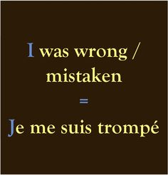 I was wrong/mistaken = Je me suis trompé