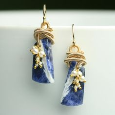 Striped Sodalite Dangle Earrings with Pearl Cluster by fussjewelry