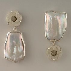 Janis Kerman, Earrings, Sterling, jade, industrial diamond, cultured pearl