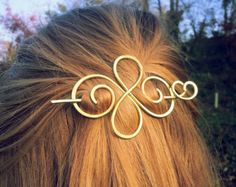 Metal hair barrette Celtic hair clip Gold hair slide Brass hair pin Womens gift For her Hair pins Spiral hair clip Gift for women
