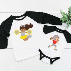 Kids Custom Football and Cheerleader Shirts Add a Name and | Etsy Custom Football, Football Shirts, Cheerleading Shirts, Making Shirts, Cute Pumpkin, Ruffle Sleeve, Colorful Shirts, Children, Kids