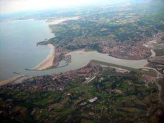 Guipuzcoa Fuenterrabía - Vista aérea de Fuenterrabía y Hendaya.