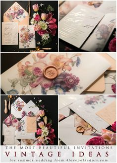 The most beautiful wedding invitations - beautiful idea for romantic vintage summer wedding. This vintage wedding invites will be ideal for any wedding style! Custom made for each wedding. Our wedding stationery has golden letters - shiny and very elegant. Rose Gold if you wish is also available #wedding #elegant
