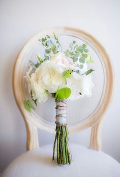 {Hand Tied Posy Of Ivory, White, & Light Pink Cabbage Roses, With Lemon Leaf & Baby Eucalyptus·········}