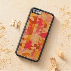 Orange Pink Retro Abstract Triangle Mosaic Pattern Carved® Cherry iPhone 6 Bumper Case