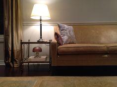 Living room vignette  Upper walls BM Horizon OC-53, chair rail and lower wall BM Swiss Coffee OC-45
