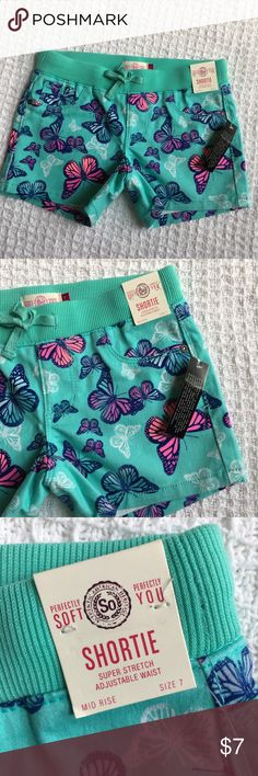 Just In! Girl's Stretch Butterfly Print Shorts Already priced at my lowest, thanks for understanding!   Brand: SO  Condition: Brand new with tags  Size: Available in sizes shown  Retail: $24  Material: Please see material's tag photo Bottoms Shorts