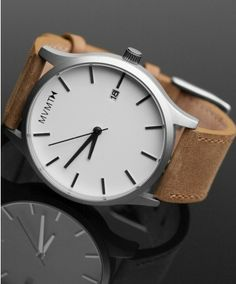 MVMTH Watch - White/Tan Leather $95