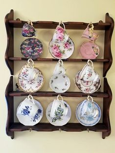 Funny Tea Cups, Tea Cup Display, English Tea Cups, Silver Tea Set, China Tea Cups, Do It Yourself Home, Sewing Notions, Displaying Collections, Tea Cup Saucer
