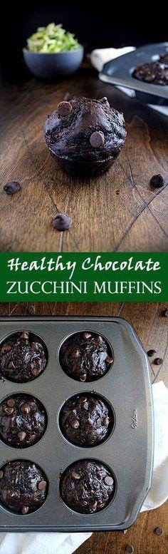 Healthy Chocolate Zucchini Muffins | Chocolate Chip | Easy Skinny Recipe | Greek Yogurt | Breakfast