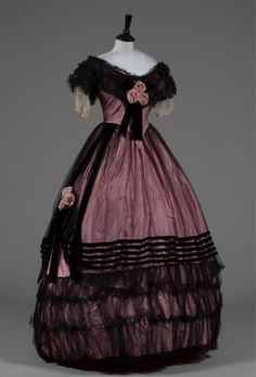 Evening dress, late 1850's