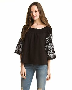 Free People 'Acapulco' Black Embroidered Top