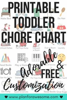 Free Printable Toddler Chore Chart - Adorable! This girl will customize the chores and name of your child for FREE. LOVE this! Daily Chore Chart. #chorechart #freeprintable #freeprintables #toddlerchorechart #freeprintablechorechart #planforawesome