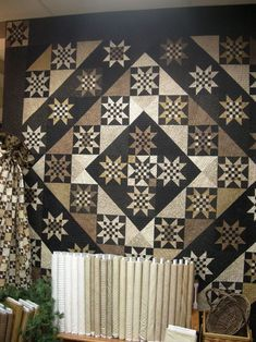 """Country Sampler Quilts   """"'45 and Life to Go', a pattern by Primitive Gatherings.  This picture is of the quilt at the West Center store, made by Carol Avok. ..."""" Awesome!"""