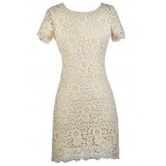 Beige Lace Dress, Cute Beige Dress, Beige Rehearsal Dinner Dress, Beige Lace Bridal Shower Dress