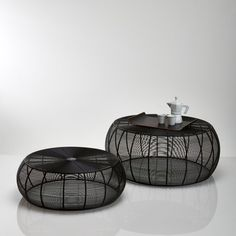 Set of 2 Bangor Low Round Steel Wire Tables La Redoute Interieurs - Home & Furniture Round Coffee Table Sets, Wire Coffee Table, Wire Table, Bangor, Low Tables, Small Tables, Home Furnishing Accessories, Home Furnishings, Mesa Sofa