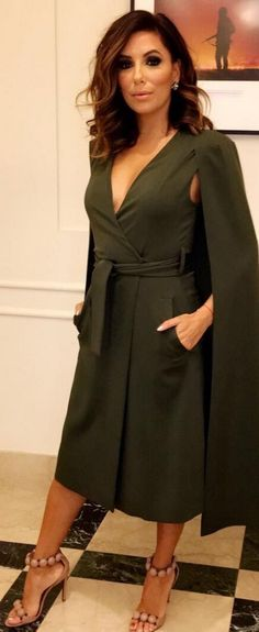 Who made Eva Longoria's tan sandals, green coat, and wrap dress?