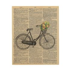 Vintage Dictionary Wall Art Bicycle with Flowers - flowers floral flower design unique style