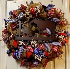 Western Cowboy Horse Wreath, Bandana Western Wreath, Cowprint Western Wreath, Cowboy Prayer Wreath by MaDoorableCreations on Etsy