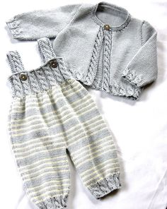 OGE Knitwear Designs -  P037 - Baby Overalls with detailed cabled bodice and matching sweater