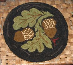Here is one of our chair pads that is part of our Butter Mold Chair Pads Series. There are six chair in this series, using antique butter molds as inspiration. Rug Hooking Kits, Rug Hooking Designs, Rug Hooking Patterns, Rug Patterns, Wool Mats, Butter Molds, Punch Needle Patterns, Hand Hooked Rugs, Braided Rugs