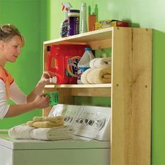 Make laundry day easier with this shelf for all your detergents, stain removers and other supplies. Build this simple organizer from 1x10 and 1x3 boards. Could be painted.