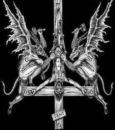 Satanic Tattoos, Satanic Art, Creepy Images, Creepy Art, Dark Fantasy Art, Dark Art, Baphomet, Creepy Tattoos, Skull Tattoos