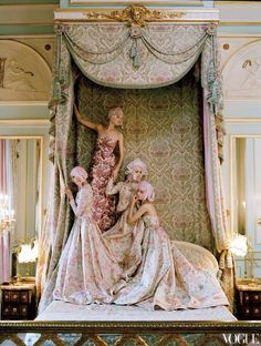 """miss-mandy-m:  """"Sigrid Agren, Patricia van der Vliet, Josephine Skriver, and Mirte Mass at the Imperial Suite of the Ritz Paris wearing Valentino Haute Couture taffeta dresses. Photographed by Tim Walker for Vogue, April 2012.  """""""