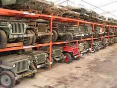 Dream warehouse full of Willy's Jeeps