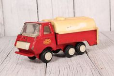 Truck toy - Red truck toy - Metal truck toy - Collectibles truck - Tanker truck - 60's truck - Mini truck toy - Tank truck - Collectible toy