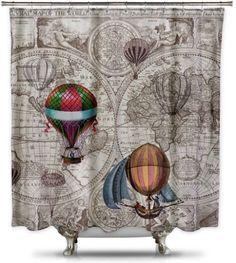 Hot-Air Balloon Steampunk Shower Curtain #ShowerCurtainHQ