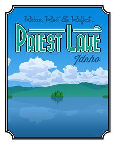 "Priest Lake, ID Poster Print - Large (16"" x 20""). $40.00, via Etsy."