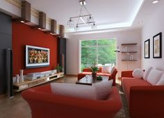 Living de color rojo y blanco | Casa Web (iluminacion)