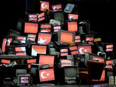 An ad-hoc video wall using old TVs for a production at the Muenchner Kammerspiele theatre in Munich, Germany.