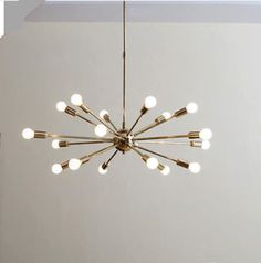 MID CENTURY MODERN POLISHED BRASS SPUTNIK CHANDELIER LIGHT FITTING 18 ARMS LIGHT | eBay