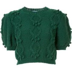 Green merino wool Wembley sweater from MacGraw featuring a round neck, short sleeves, a cable knit, ribbed trimming and knitted bauble details. Chunky Cable Knit Sweater, Merino Wool Sweater, Wool Sweaters, Oversized Sweaters, Winter Sweaters, Vintage Sweaters, Pullover Sweaters, Christmas Sweaters, Style Classique