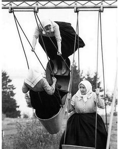 "Jirí Jíru Swinging grannies, Slovakia, 1966 From Poetry of Totalitarian Regime"", Prague Also swinging women vintage B Black White Photos, Black And White Photography, Monochrome Photography, Photos Du, Old Photos, Vintage Photographs, Old Pictures, Belle Photo, Old Women"